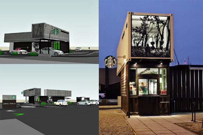 Starbucks Coffee Shop Made Out of Shipping Crates | http://www.designrulz.com/architecture/2012/05/starbucks-coffee-shop-made-out-of-shipping-crates/