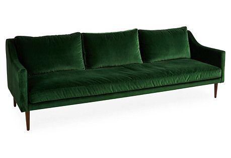 """Fitz 96"""" Sofa, Emerald Velvet"""