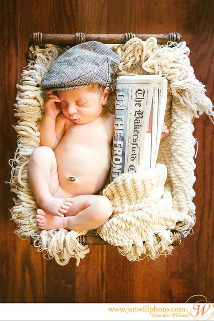 Newborn photography, Newborn prop idea: newsboy hat with paper from birthday. www.jenwillphoto.com, hat from: http://four-tiny-cousins-2.myshopify.com/