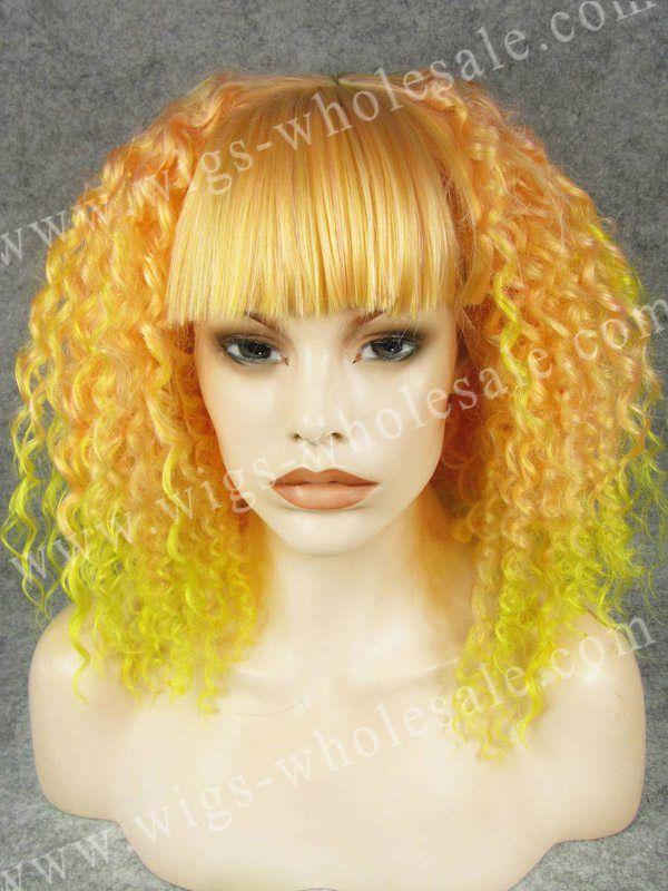 Продвижение короткие кудрявые оранжевый два тона синтетический два тона фронта парик