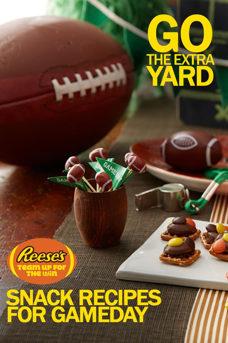 The winning strategy to the game - double the chocolate and peanut butter! When it comes to a great game-time snack, REESE'S Peanut Butter Cups are unbeatable. Make sure to stock up for gamedays this season to create these fun snack favorites.