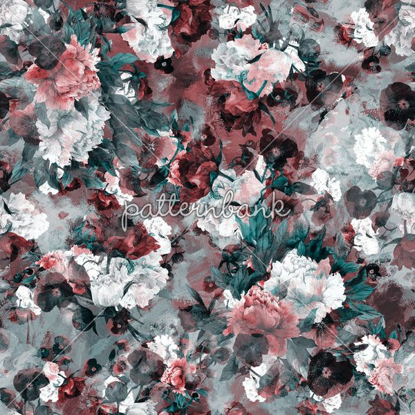 Watercolor Flowers / #Seamless floral #pattern, #vintage #roses blue #red #fashion #moda #stock pattern