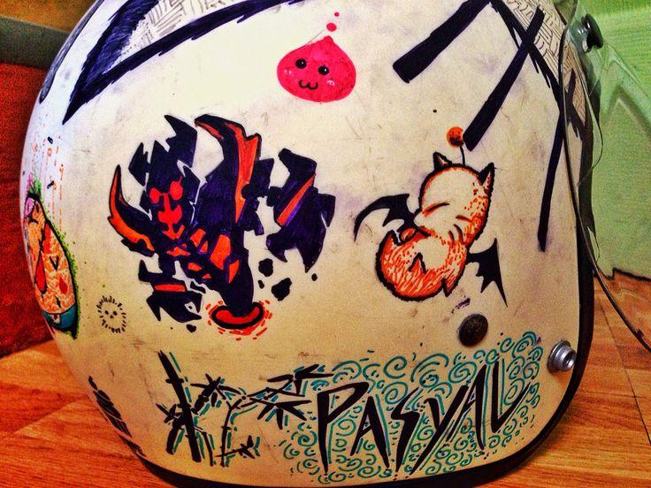 Personalized sharpie Helmet art Shadow Fiend moogle poring