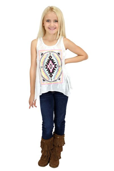 A funky tank with a cool Aztec print on awesome burnout fabric!