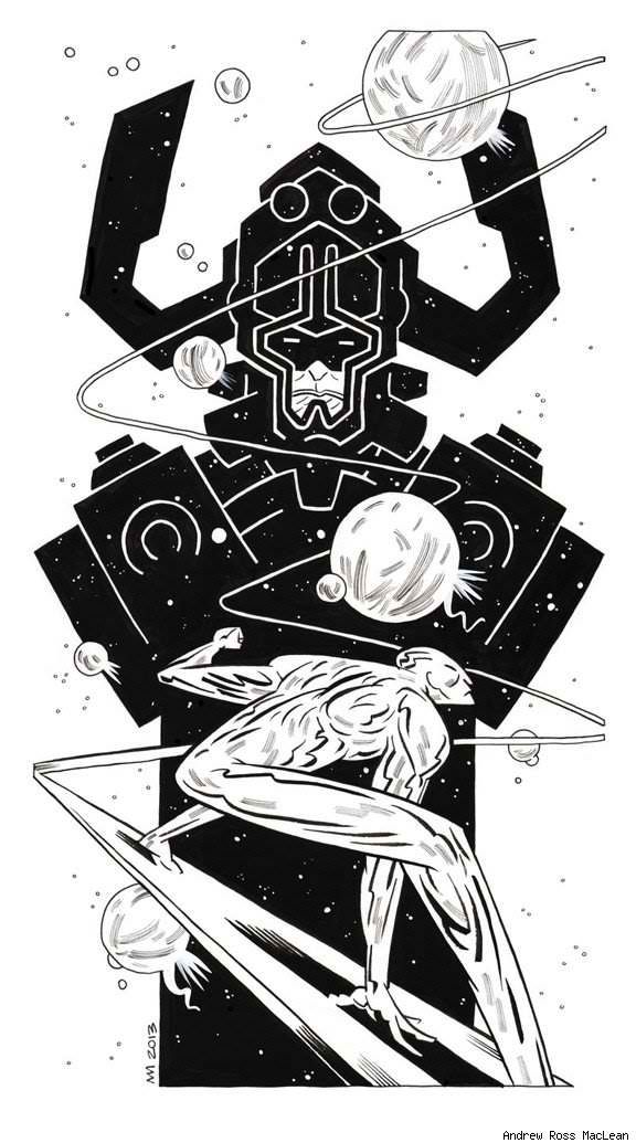 Galactus and the silver surfer -Andrew Ross Mclean-