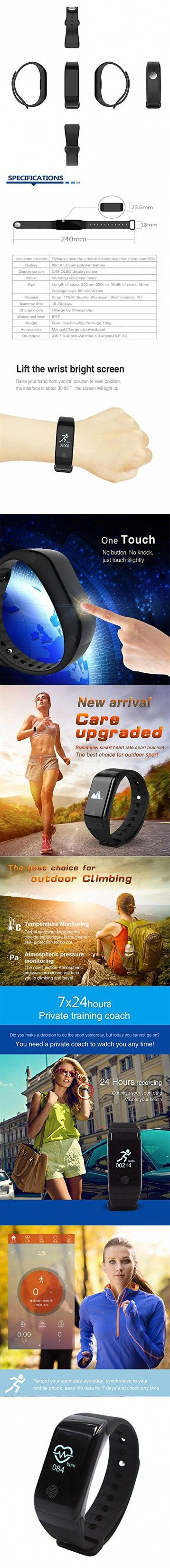 Kobwa IP67 Waterproof Pedometer Heart Rate Monitor Fitness Tracker Watch,Wireless Smart Bluetooth Sport Activity Tracker Smartband Wristband Bracelet with Sleep Testing Calls Vibration Remind(Black)