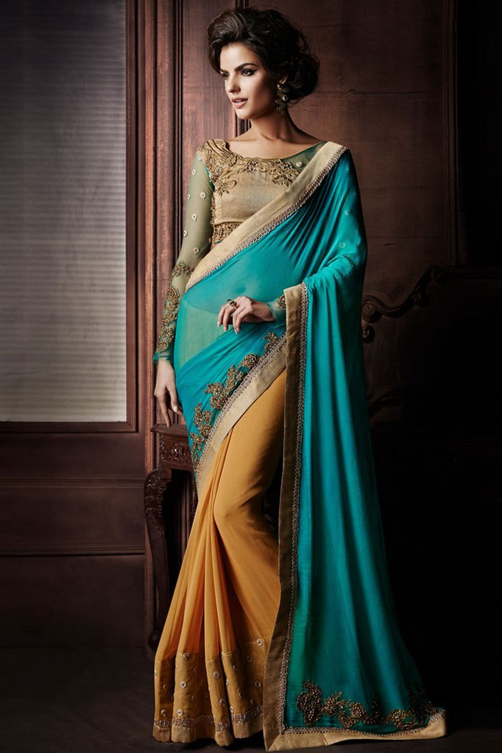 Marvelous Blue Cream Color Bridal Wear #Saree. Perfect outfit for any wedding or #Festival. Shop Now @ http://www.sanwaree.com/Buy/Offers/Marvelous-Blue-Cream-Color-Bridal-Wear-Saree-20-22306
