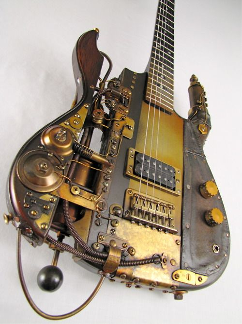 What's better than a rock band?  A rock band with Steampunk guitars!