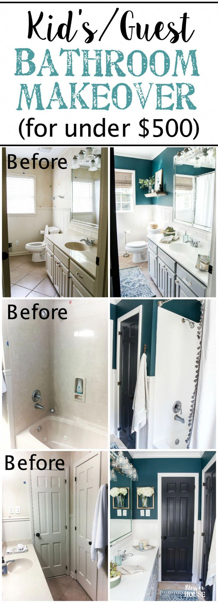Kid's / Guest Bathroom Makeover on a Budget | blesserhouse.com – A shared kid's / guest bathroom gets a full makeover for less than $500 using just pa…