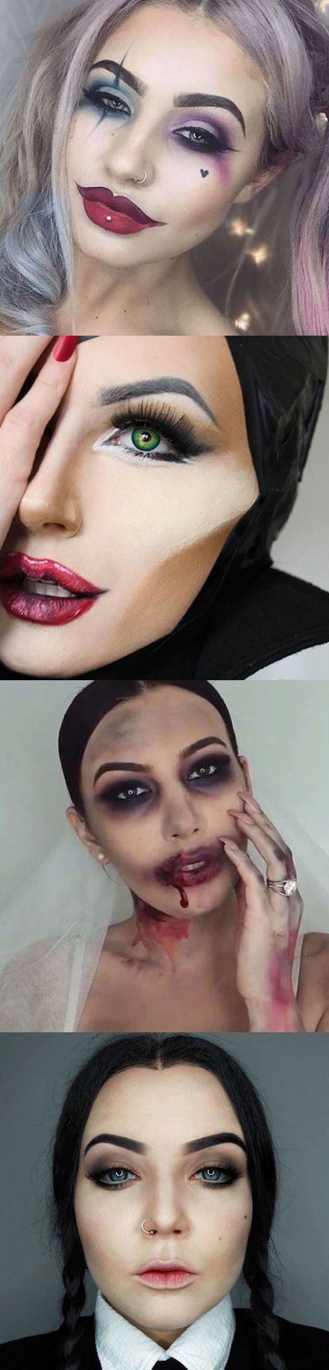 Harley Quinn, Maleficent, Zombie Bride, Wednesday Addams - The most popular Halloween make-up on Pinterest -
