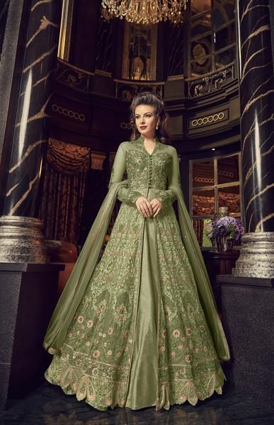 e21a7b0013 Olive Green Embroidered Net Party Wear Dresses Salwar Suit Design Late