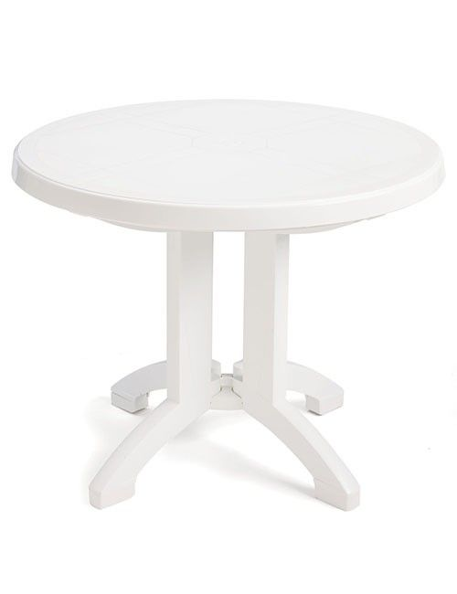 white plastic patio side table is a practical addition to patio furniture
