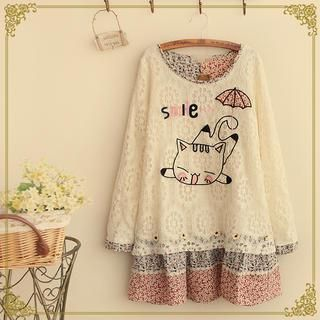 Buy 'Fairyland – Long-Sleeve Cat Embroidered Lace Top' with Free International Shipping at YesStyle.com. Browse and shop for thousands of Asian fashion items from China and more!