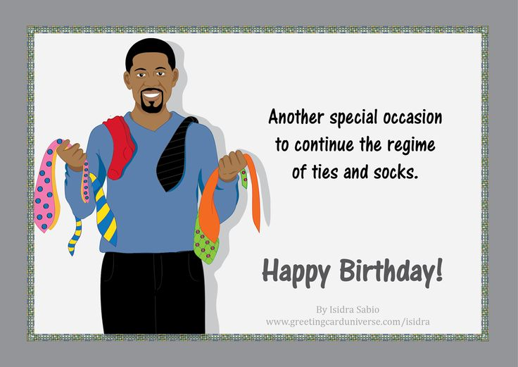 X Men Birthday Cards ~ Birthday for men man with a lot of ties and socks in his card wear happy