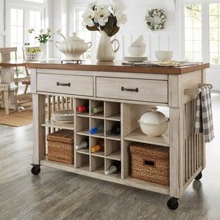 Eleanor Two-Tone Rolling Kitchen Island with Wine Rack - Free Shipping Today - Overstock.com - 20610111 - Mobile