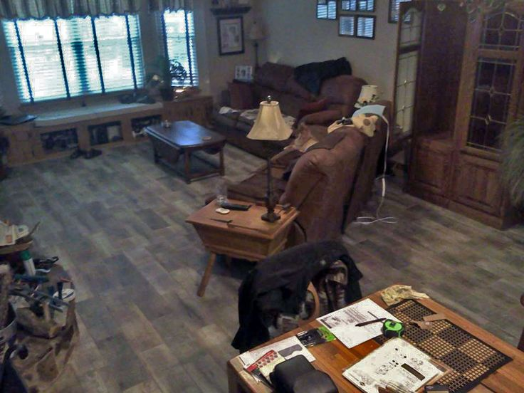 """""""We tiled our whole house with your Ceramic tile Planks 7x20 Driftwood Movila Plank. with grout color Latte."""" -Heidi in Crestview, FL."""