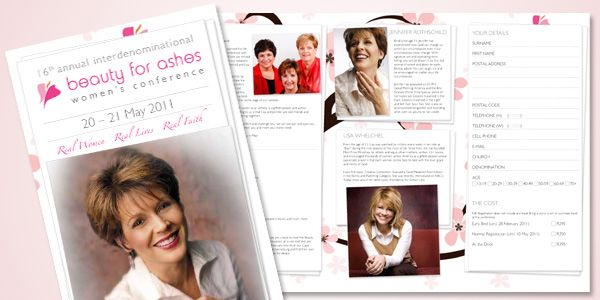 Beauty for Ashes Women's Conference 2011 Brochure.  See more: http://onepartscissors.com/2011/02/beauty-for-ashes-conference-brochure.html