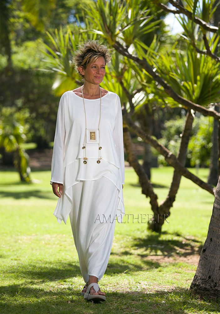 Loose fit natural white silk tunic perfect for wedding party AMALTHEE