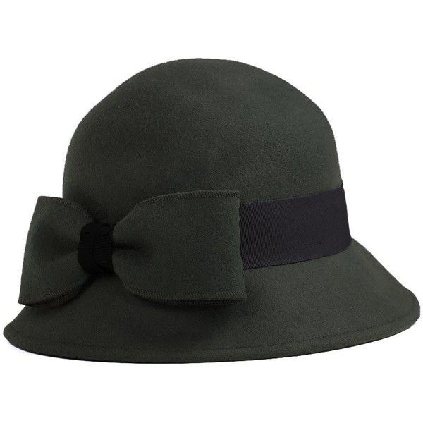 Women's Barbour Rosetti Cloche Hat - Charcoal ($66) ❤ liked on Polyvore featuring accessories, hats, barbour, bow hat, wool cloche hat, barbour hat and block hats