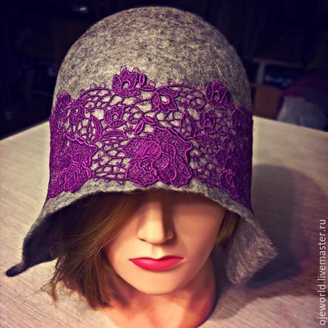 """Шляпка """"Rose"""" , нунофелтинг. - шляпка, нунофелтинг, шелк, шерсть, кружева, ручная работа, валяная, OlgaJW"""