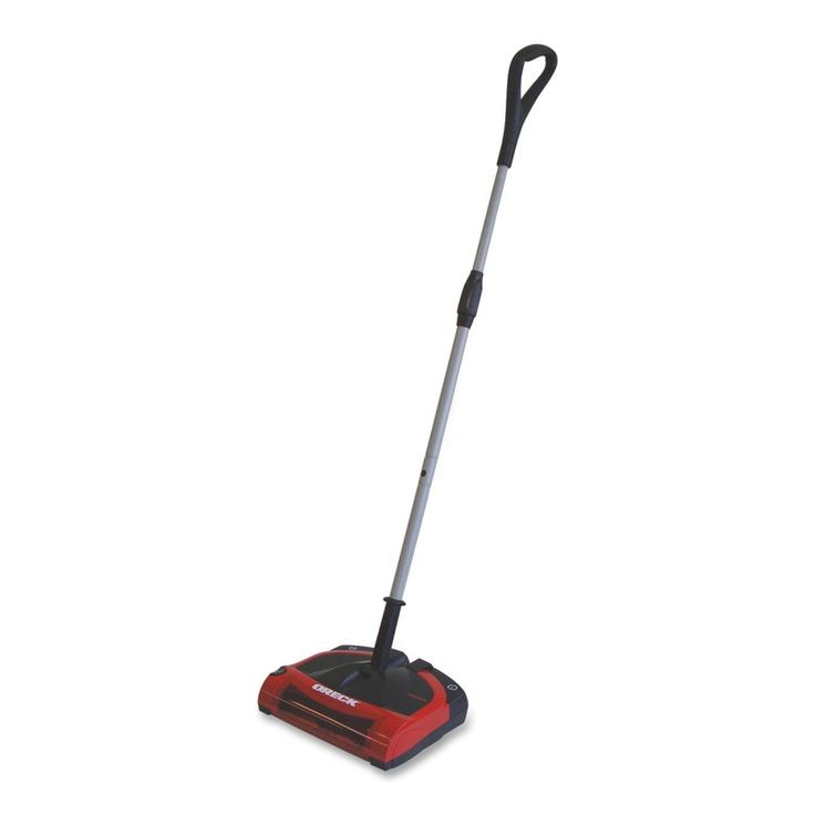 Oreck Sweep-n-Go Stick Electric Broom - Lightweight electric broom uses a battery-powered roller brush to sweep dirt and bulkier items - http://www.officediscountclub.com/Products/Oreck-Sweep-n-Go-Stick-Electric-Broom__ORKPR8100.aspx