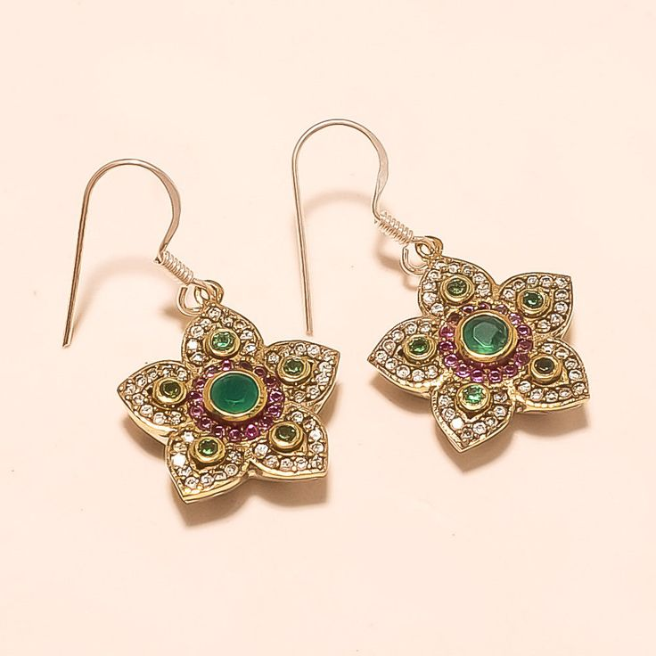 Natural Zambian Emerald, Burmese Ruby Earrings Turkish Sterling Silver Jewelry #Handmade #Turkish #NewYear