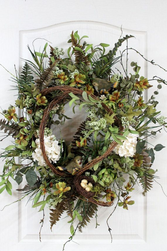 Elegant Country Wreath Two Birds Nest With Eggs by FloralsFromHome, $167.00....beautiful, but I'd never pay that.