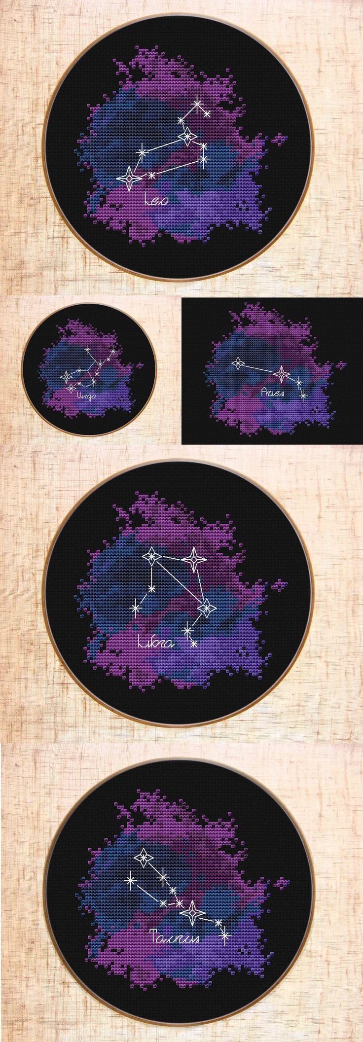 Constellation Cross stitch patterns | Zodiac sign cross stitch Galaxy | Celestial x-stitch