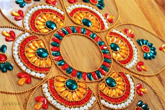 Indian wedding beaded floral table decor  Rangoli floor by Nirman, $28.00