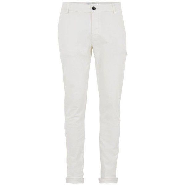 TOPMAN Off White Stretch Skinny Chinos ($35) ❤ liked on Polyvore featuring men's fashion, men's clothing, men's pants, men's casual pants, white, mens chino pants, mens skinny chino pants, mens chinos pants, mens skinny pants and men's casual cotton pants