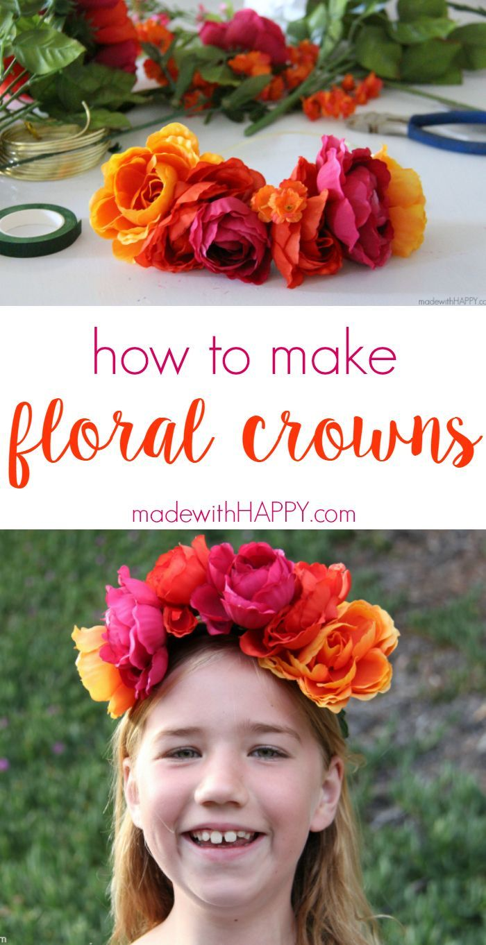 how to make floral crowns | Simple Flower Crowns | Silk Flower Headbands | Flower Crowns for Bridesmaids | Floral Crowns Boho Chic | http://www.madewithhappy.com