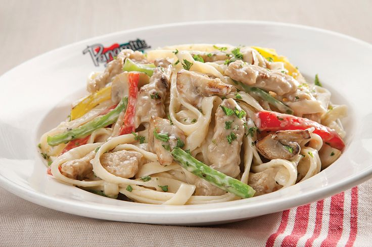 CHICKEN CAPRICCIOSA Oven-roasted chicken, assorted peppers and brown mushrooms in a cream-based sauce.
