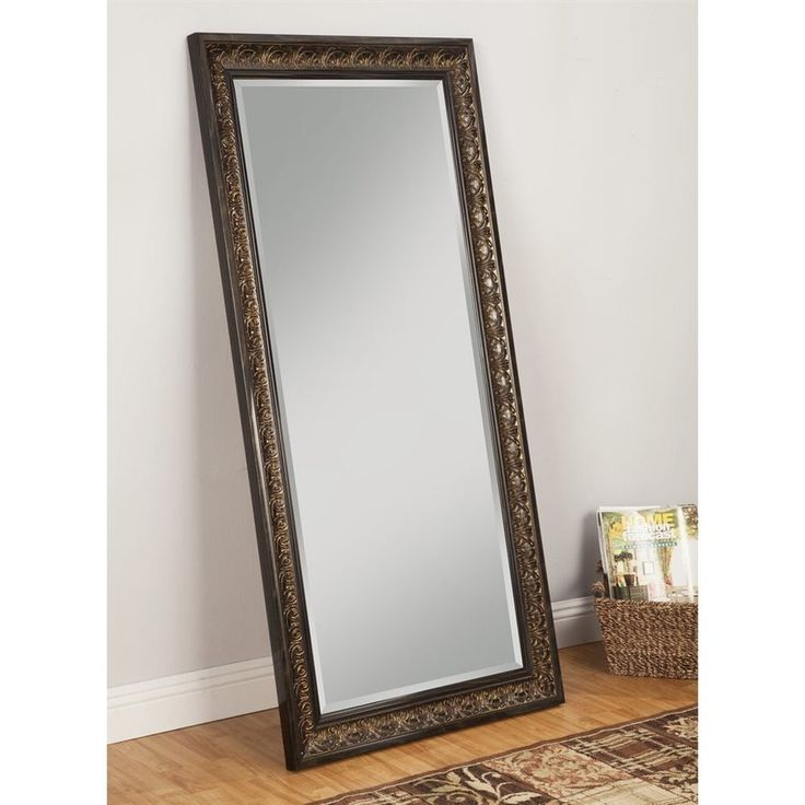 Sandberg Furniture Andorra 32-in x 66-in Brown Beveled Rectangle Framed Contemporary Wall Mirror