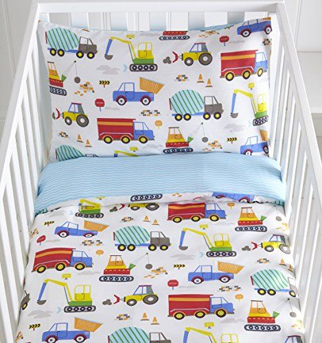 From 10.99 Bright Trucks Reversible Cot Duvet Cover And Pillowcase Set - 90 Centimetres X 120 Centimetres