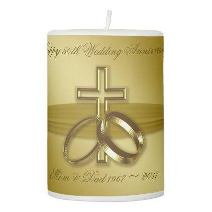 Religious Golden 50th Anniversary Pillar Candle - anniversary cyo diy gift idea presents party celebration