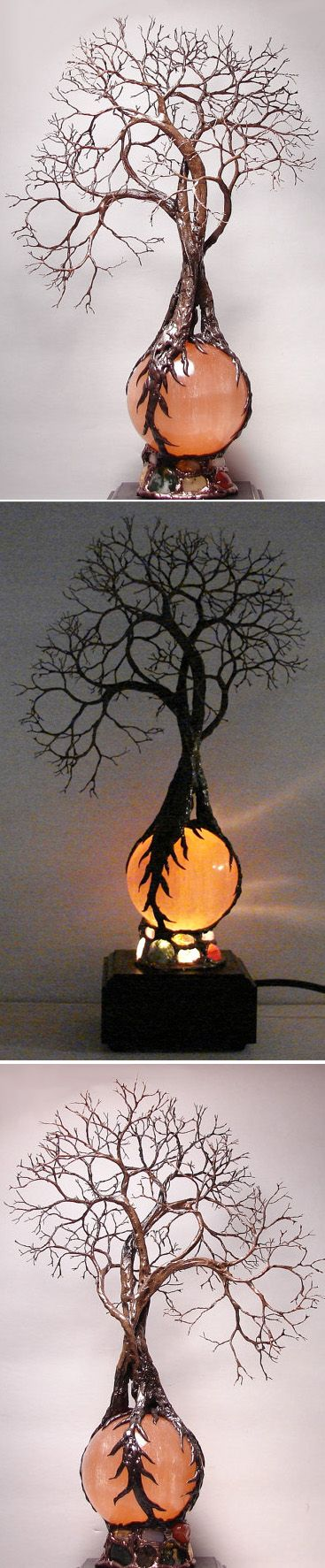 Hand-made :: Wire Tree Of Life Ancient Grove Spirits sculpture on natural Orange Selenite Full Moon Sphere Gemstones Lamp by CrowsFeathers