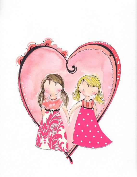 Little girls illustration 8x10 print Sisters by onetinybutterfly, $14.00
