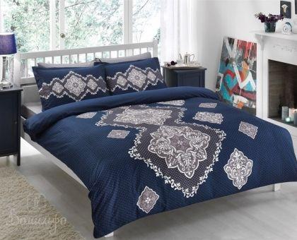 Купить постельное белье DIANE синее Delux 1,5-сп от производителя Tac (Турция)