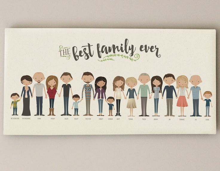 This listing is for a custom-illustrated family portrait that is drawn digitally. Its a unique keepsake for any home and makes a great gift for