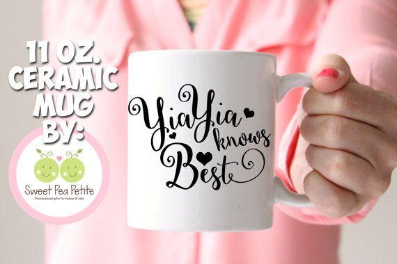 Yia Yia knows Best ceramic mug  11 OZ. by SweetPeaPetiteShop