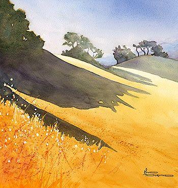 Watercolor of golden fields
