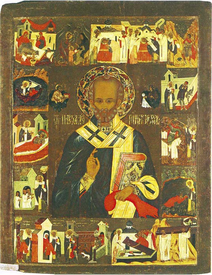 Никола Гостунский с житием. Третья четверть XVI века. Происходит из Никольского придела церкви Покрова Богоматери в Ростове, где была храмовым образом. Дерево, темпера.