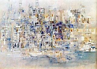 Vieira da Silva (1908-992, artiste portugaise) - Ville au bord de la mer