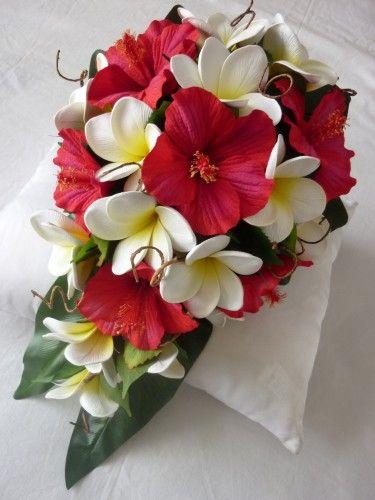 hibiscus bouquet wedding   Suzanne - Hibiscus Modern Drop artificial wedding bouquet