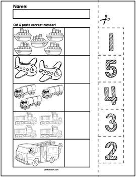 Transportation Cut & Match Worksheets | Numbers 1-5