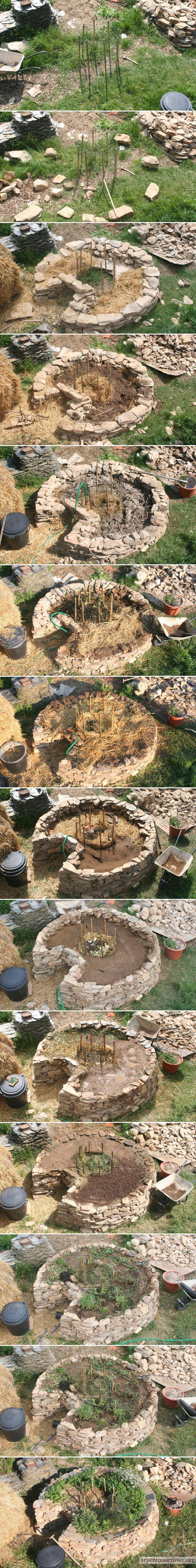 """L'ONG Send-A-Cow qui l'y promeut l'a baptisée Keyhole Garden. C'est très différent du simple keyhole bed qu'on voit dans tous les bouquins de permaculture et dans lequel le trou central sert simplement à accéder à une butte qui mériterait plutôt d'être appelée butte en """"fer-à-cheval""""..."""