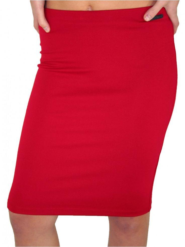 BSB Γυναικεία ελαστική ψηλόμεση pencil φούστα, κόκκινο χρώμα. 34,00 €