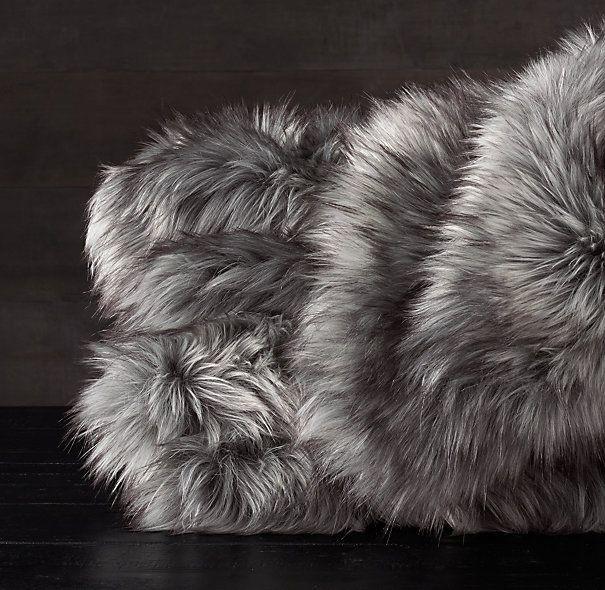 Exotic Faux Fur Throw - Siberian Grey Fox / 50 x 60 / $120 / $79 sale / RH