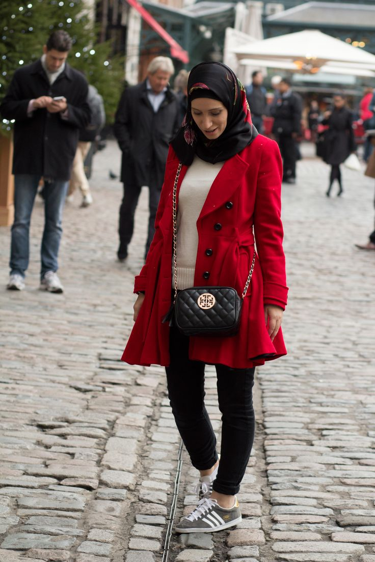 I love red coats for winter! Adding a silk scarf hijab makes a big difference!