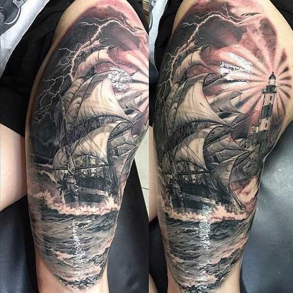 beeindruckende segelschiffe tattoos f r m nner tattoo. Black Bedroom Furniture Sets. Home Design Ideas